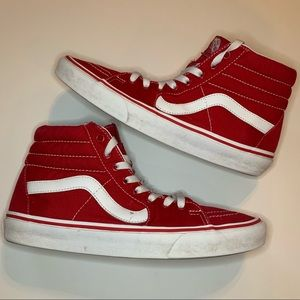 Vans size 9 red and white high skate style!